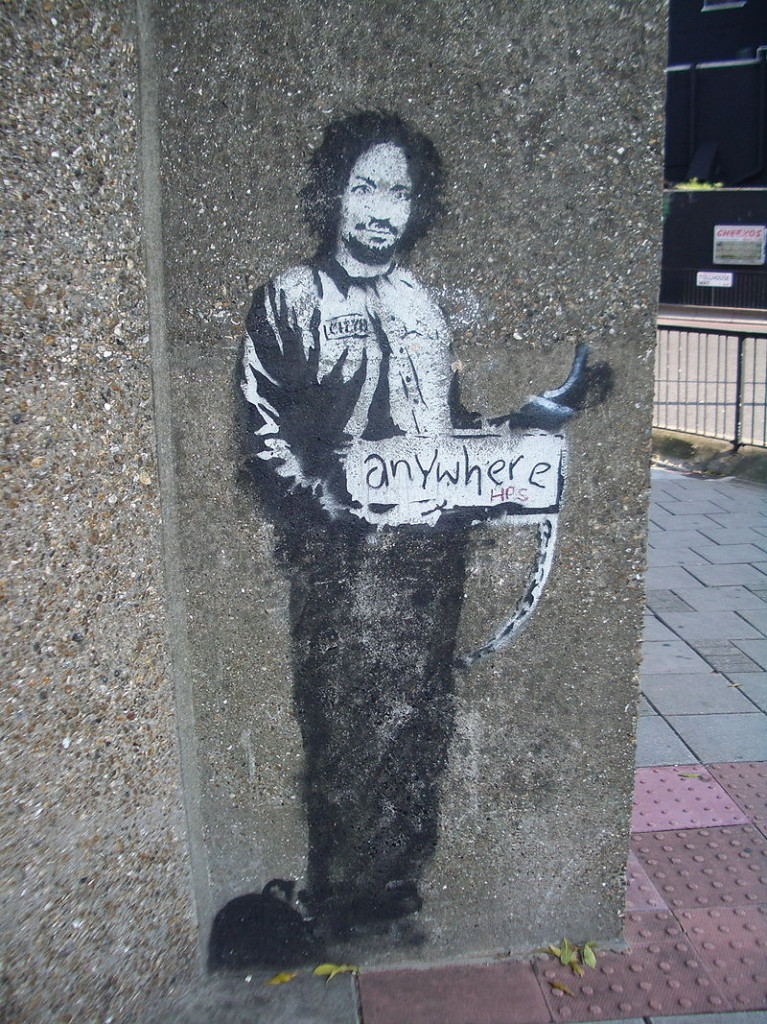 800px-Banksy_Hitchhiker_to_Anywhere_Archway_2005