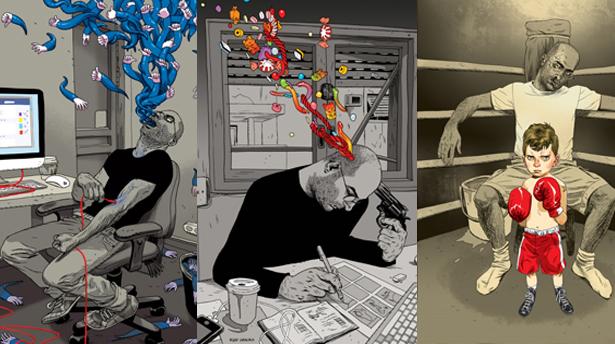 Иллюстрации о современной реальности от Асафа Ханука