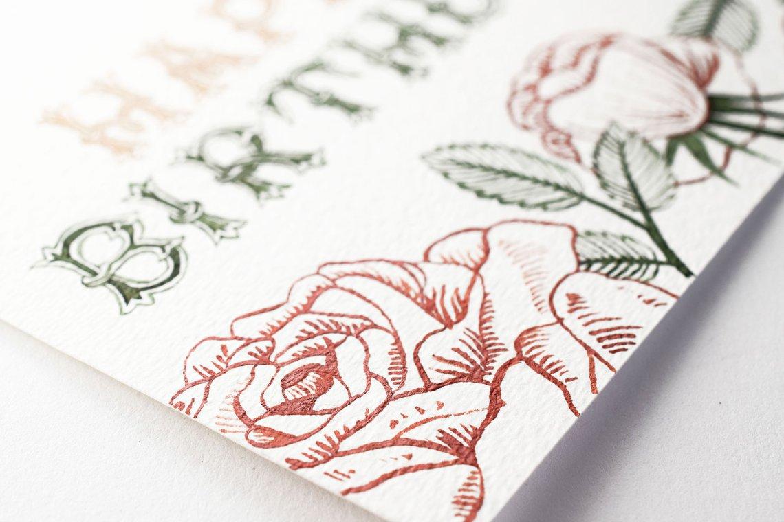 роза на открытке