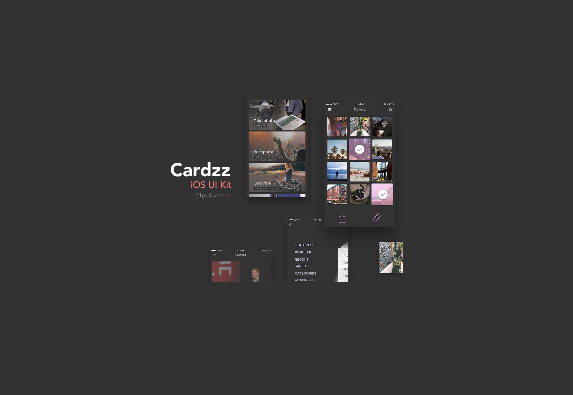 cardzz-dark-schemed-ios-ui-kit