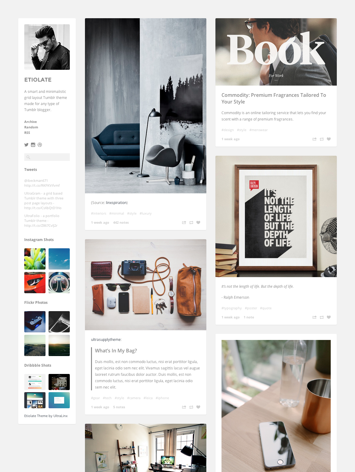 Etiolate Tumblr Theme by Oliur