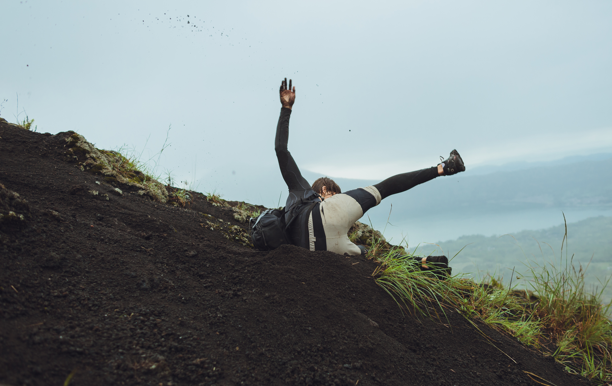 Young man falls from the mountain