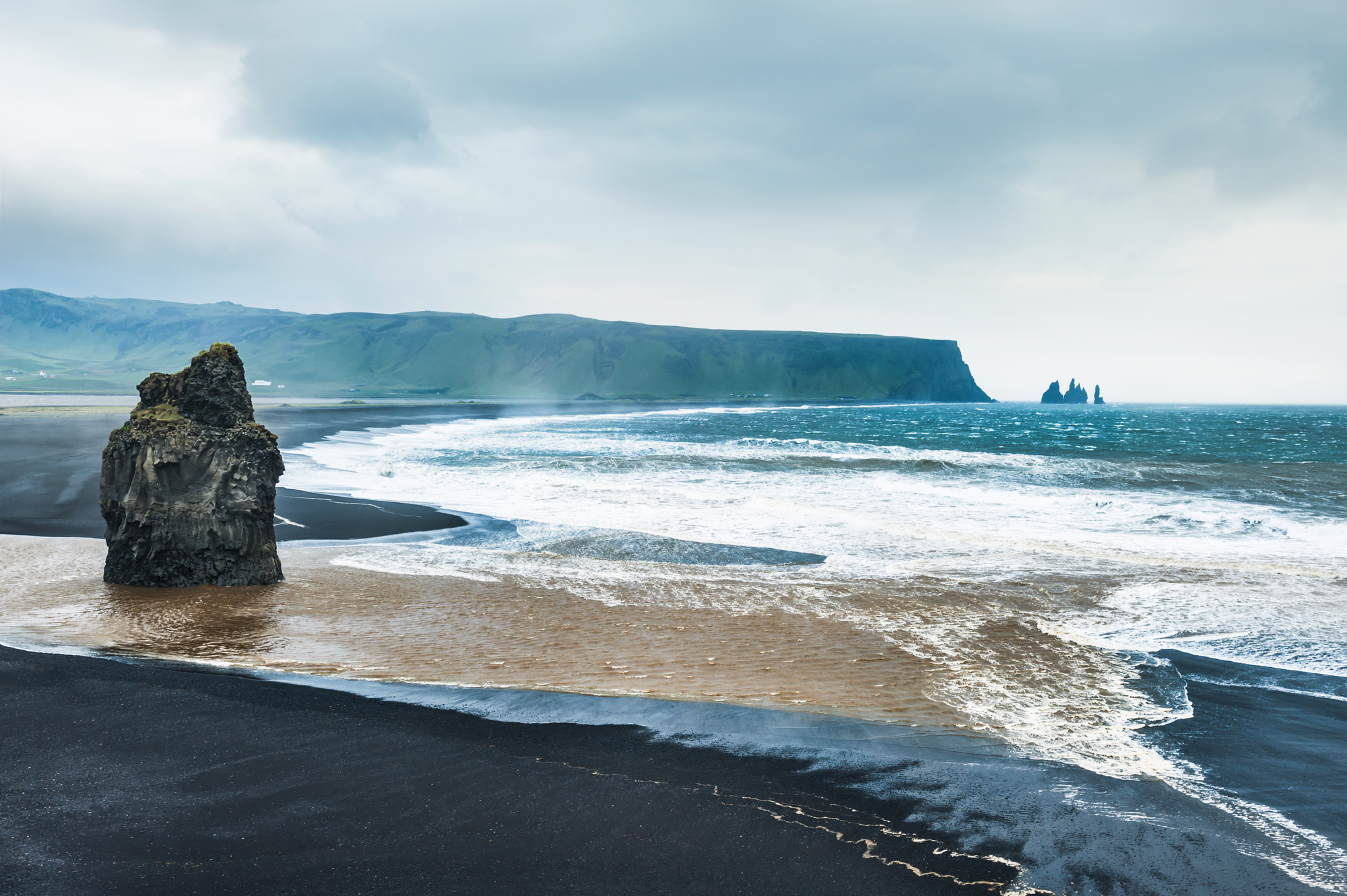 Beautiful view of the black Reynisfjara beach.