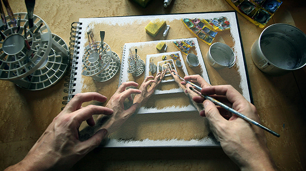 artist-art-recursion-the-picture-is-dip-brush-paint-the-hands-of-the-album-the-workplace