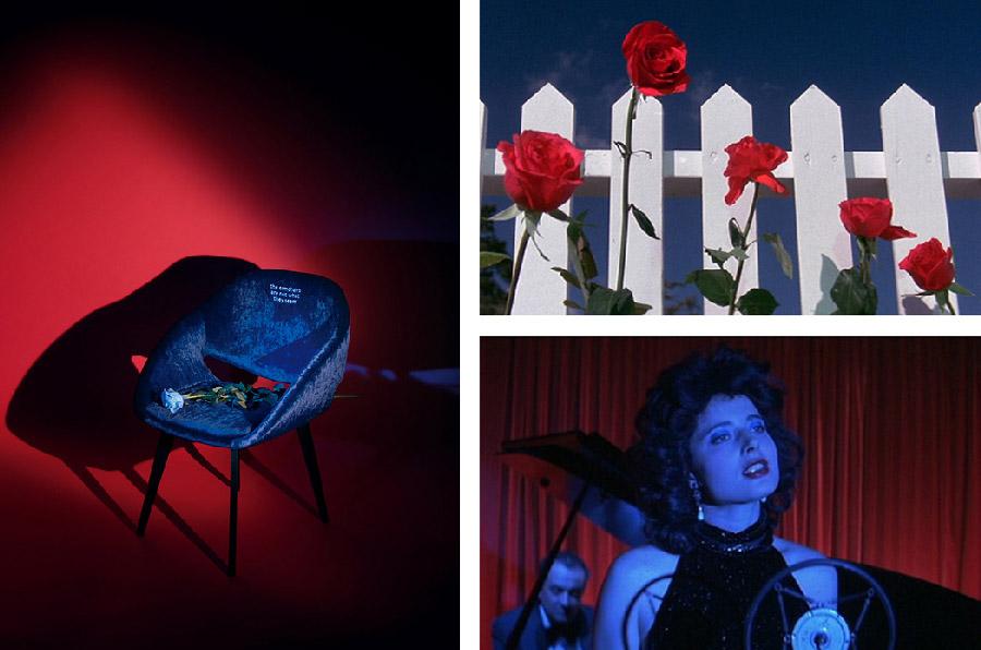 Крісло Blue Rose і кадри з серіалу «Твін Пікс» та фільму «Синій оксамит» Девіда Лінча. Фото: Яна Токарчук