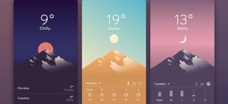 7 примеров крутого UI для приложений погоды
