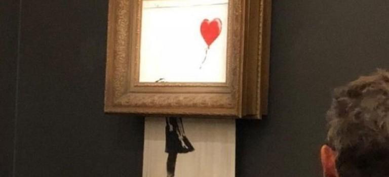 Бэнкси против аукционов: его картина самоуничтожилась после продажи