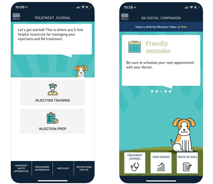 Приложение RA Digital Companion от Sanofi фокусируется на полезных ресурсах и подбадривает людей.